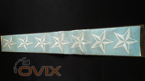 Украина Наклейка на автомобиль Звезды, белые (h1=130 мм, h2=60 мм, l=600 мм) - Картинка 2