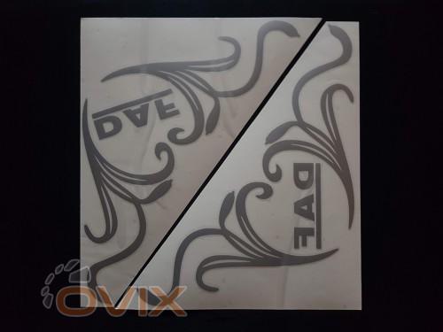 Украина Наклейки на боковые стекла (уголки) - Daf, серебро (h=285 мм, l=330 мм) - Картинка 1
