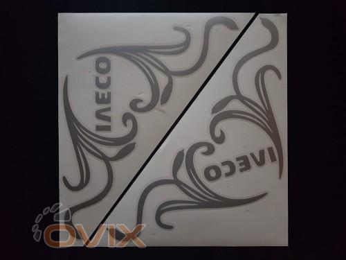 Украина Наклейки на боковые стекла (уголки) - Iveco, серебро (h=285 мм, l=330 мм) - Картинка 1