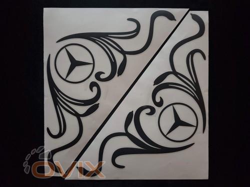 Украина Наклейки на боковые стекла (уголки) - Mercedes, черные (h=285 мм, l=330 мм) - Картинка 1
