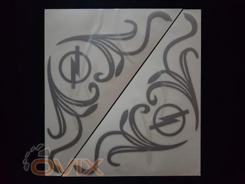 Украина Наклейки на боковые стекла (уголки) - Opel, серебро (h=285 мм, l=330 мм) - Картинка 1