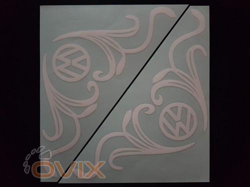 Украина Наклейки на боковые стекла (уголки) - Volkswagen, белые (h=285 мм, l=330 мм) - Картинка 1