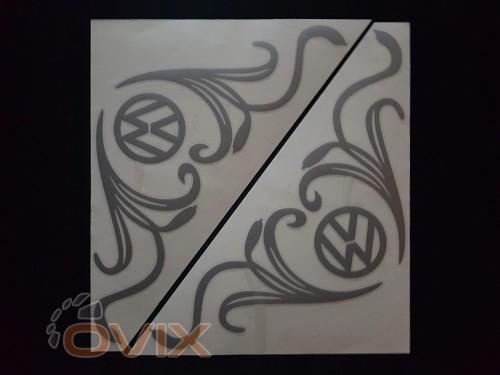 Украина Наклейки на боковые стекла (уголки) - Volkswagen, серебро (h=285 мм, l=330 мм) - Картинка 1