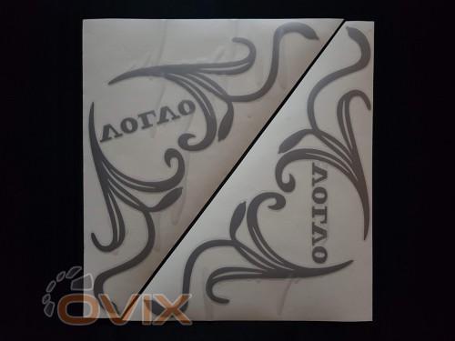 Украина Наклейки на боковые стекла (уголки) - Volvo, серебро (h=285 мм, l=330 мм) - Картинка 1