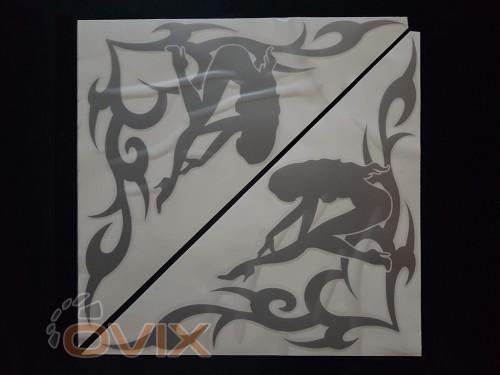 Украина Наклейки на боковые стекла (уголки) - Девушка, серебро (h=285 мм, l=330 мм) - Картинка 1