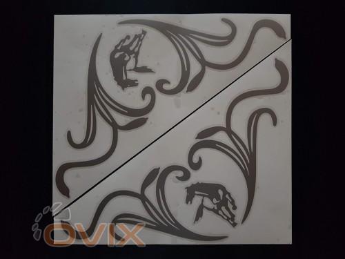 Украина Наклейки на боковые стекла (уголки) - Камаз, серебро (h=285 мм, l=330 мм) - Картинка 1