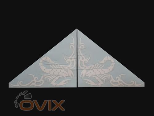 Украина Наклейки на боковые стекла (уголки) - Скорпион, белые (h=285 мм, l=330 мм) - Картинка 1