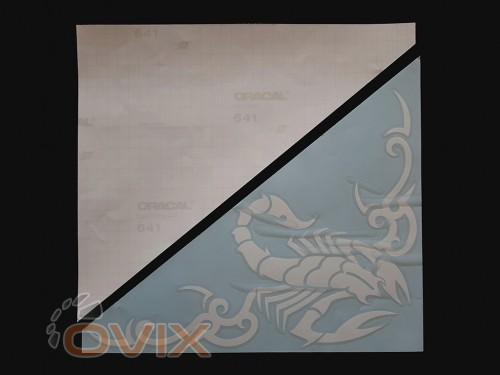 Украина Наклейки на боковые стекла (уголки) - Скорпион, белые (h=285 мм, l=330 мм) - Картинка 2