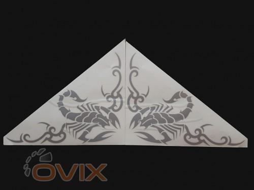 Украина Наклейки на боковые стекла (уголки) - Скорпион, серебро (h=285 мм, l=330 мм) - Картинка 1