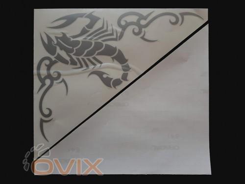 Украина Наклейки на боковые стекла (уголки) - Скорпион, серебро (h=285 мм, l=330 мм) - Картинка 2