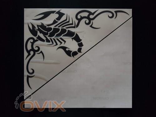 Украина Наклейки на боковые стекла (уголки) - Скорпион, черные (h=285 мм, l=330 мм) - Картинка 2