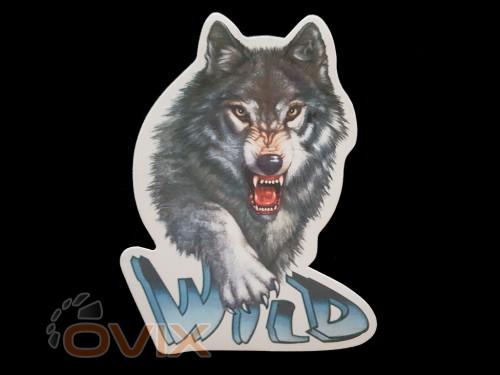 Украина Наклейка на автомобиль Звери - Волк Wild, цветная (h=200 мм, l=145 мм) - Картинка 1