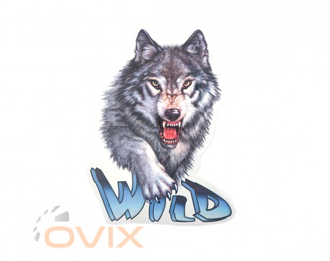 Украина Наклейка на автомобиль Звери - Волк Wild, цветная (h=455 мм, l=340 мм) - Картинка 1