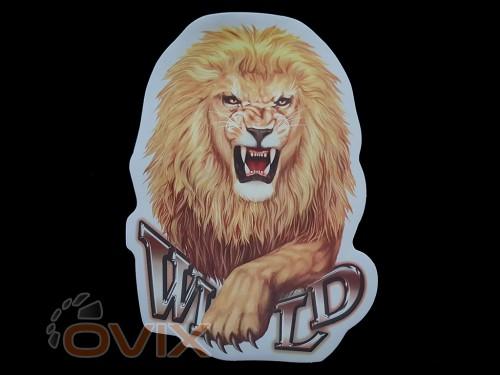 Украина Наклейка на автомобиль Звери - Лев Wild, цветная (h=325 мм, l=240 мм) - Картинка 1