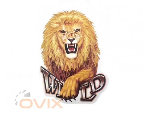 Украина Наклейка на автомобиль Звери - Лев Wild, цветная (h=475 мм, l=350 мм) - Картинка 1