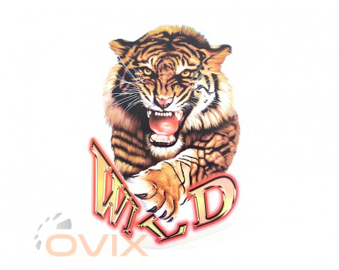 Украина Наклейка на автомобиль Звери - Тигр Wild, цветная (h=465 мм, l=340 мм) - Картинка 1