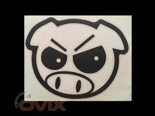 Украина Наклейка на автомобиль Злая свинья, черная (h=170 мм, l=175 мм) - Картинка 1