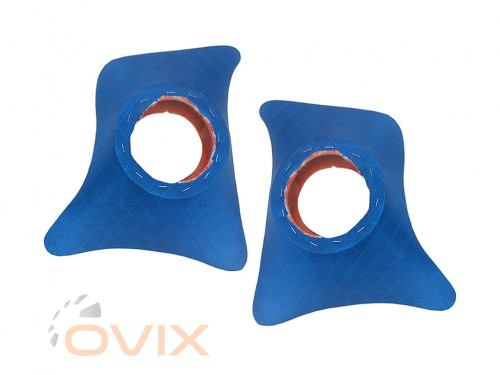 Autoelement Накладки уголки передние с подиумами на 13 см ВАЗ 2101, 2102, 2103, 2104, 2105, 2106, 2107 ромб (синие) - Картинка 1