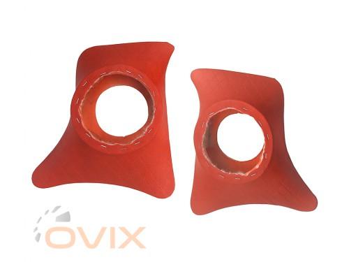 Autoelement Накладки уголки передние с подиумами на 16 см ВАЗ 2101, 2102, 2103, 2104, 2105, 2106, 2107 ромб (красные) - Картинка 1