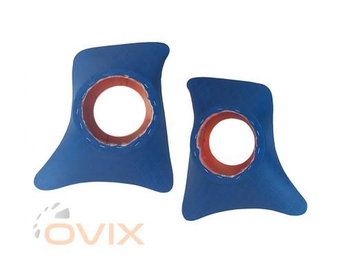 Autoelement Накладки уголки передние с подиумами на 16 см ВАЗ 2101, 2102, 2103, 2104, 2105, 2106, 2107 ромб (синие) - Картинка 1