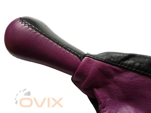 Avtoaks Ручка с чехлом КПП ВАЗ 2108, 2109, 21099 натуральная кожа (фиолетовая) - Картинка 3