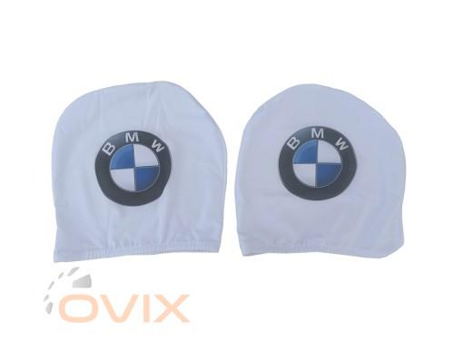 Украина Чехол подголовника с логотипом BMW белый (2 шт.) - Картинка 1