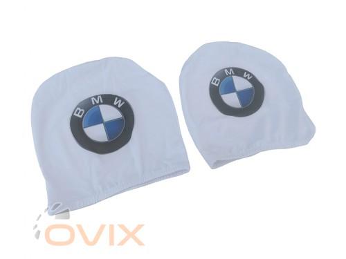 Украина Чехол подголовника с логотипом BMW белый (2 шт.) - Картинка 2