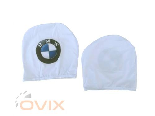 Украина Чехол подголовника с логотипом BMW белый (2 шт.) - Картинка 3