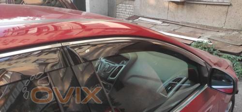 Cobra Tuning Дефлекторы окон Ford Focus 3 Sedan / hatchback 5d 2011-2017 хром. молдинг - Картинка 1